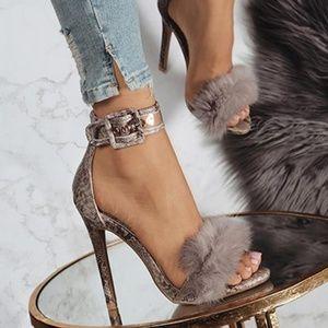 Women's Stilettos - Pom-Pom / Buckle Around Ankle